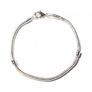 Metalen Groot-Gat-Style Armband +/- 18.5cm Zilverkleur