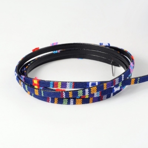 Aztek Koord Plat 5x2mm Multicolor Donker Blauw (1 meter)