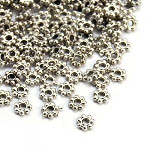 Metalen Verdelers 4.5x4.5mm Bloemetjes Platinakleur (50 stuks)